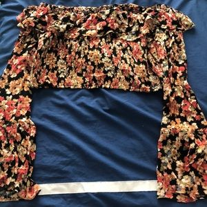 Urban Outfitters floral long sleeve crop top